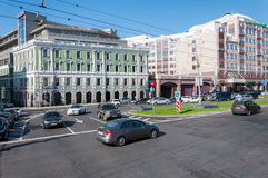 Moscow, Russia - 09.21.2015. View of Gogol Boulevard and Rosselkhozbank Stock Image