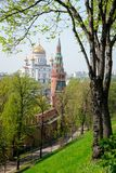 Christ the Savior`s Cathedral and Kremlin Towers. MOSCOW, RUSSIA - View from Kremlin Borovitsky Hill on majestic cathedral of Christ the Savior, the tallest stock images