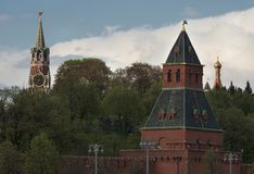 Moscow Russia View on Kremlin Towers on against cloudy sky. In the evening royalty free stock images