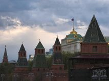 Moscow Russia View on Kremlin Towers on against cloudy sky. In the evening stock image