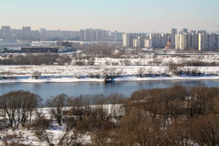 MOSCOW, RUSSIA - WINTER, 2013: Kapotnya, Moskva Reka, Orekhovo, Uzhnie Vorota, Maryno and Brateevo, outskirts of UVAO Royalty Free Stock Image
