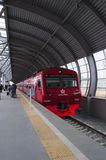 Moscow, Russian federal city, Russian Federation, Russia. Domodedovo, Russia, 23/04/2017: passengers departing with the red train of Aeroexpress, the only rail royalty free stock image