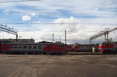 Train tracks, Moscow, Russian federal city, Russian Federation, Russia. Russia, 23/04/2017: the landscape of the suburbs of Moscow and train tracks seen from the Stock Photography
