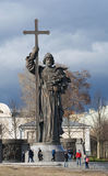 Moscow, Russian federal city, Russian Federation, Russia. Moscow, 26/04/2017: the statue of prince Vladimir the Great, a tenth-century ruler of Kiev who Royalty Free Stock Photo