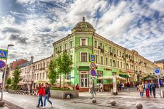 Moscow, Russian Federation - August 27, 2017 : Street view from. Pushechnaya street to Rozhdestvenka street with facade of the famous restaurant chain Mu Mu Royalty Free Stock Images
