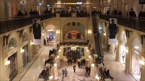 Moscow, Russian Federation - January 28, 2017: The interior of famous GUM State Department Stores with many shops and the famous stock video footage