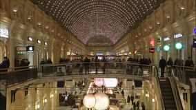 Moscow, Russian Federation - January 28, 2017: The interior of famous GUM State Department Stores with many shops and the famous stock footage