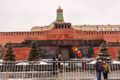 Moscow,Russian Federation - January 28,2017:  - Kremlin ,  Lenin s Mausoleum on Red Square in winter covered by snow. Stock Photography