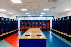 Moscow Russian Federation- January 27, 2018: locker room for CSKA football team, excursion around the stadium of CSKA stock photos