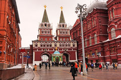 Moscow, Russian Federation - January 21, 2017 : Towards the famous Kremlin zone , many visitors like to go on Red Square Stock Photos