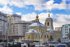 Moscow, Russian Federation Located in Transfiguration Square street view of new Church  surrounding buildings and local traffic. Moscow, Russian Federation Stock Photos