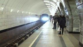 Moscow, Russian Federation - March 07: Train. Moscow, Russian Federation - March 07: Modern Train arrives at the Moscow metro station Chkalovskaya stock video