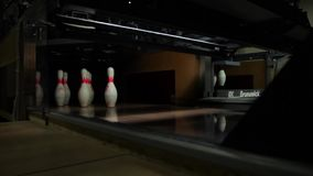 Moscow, Russian Federation - May 12, 2015: Bowling club Red Balloon Bowling competitions among juniors May 12 skittles stock video