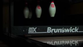 Moscow, Russian Federation - May 12, 2015: Bowling club Red Balloon Bowling competitions among juniors May 12 skittles stock video footage