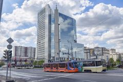 Moscow, Russian Federation - September 10, 2017 :Street view of. Transfiguration Square in Moscow , view local Royalty Free Stock Photo