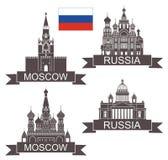 moscow Rysk kultur Basilikadomkyrka på röd fyrkant i Moskva Tempel Kyrka vektor stock illustrationer
