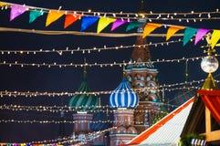 moscow Ryssland, nytt år, röd fyrkant, kremlin, jul arkivbilder