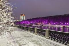 moscow Ryssland Vinter snö-täckt stadslandskap Royaltyfri Bild