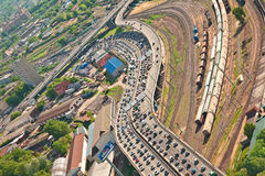 Moscow's congestion. Traffic jam on a freeway in Moscow city. Aerial view stock photos