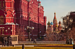 Moscow's Historical museum and St.Basil's Cathedral day shot Royalty Free Stock Photo