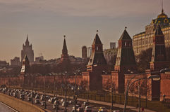Moscows Kremlin on the sunset Royalty Free Stock Photos