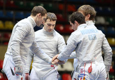 Moscow Saber World Fencing Tournament. National team of Germany compete at the 2010 RFF Moscow Saber World Fencing Tournament in Moscow, Russia royalty free stock photo