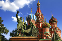 Moscow. Saint Basil`s Cathedral. Russia. Moscow. Saint Basil`s Cathedral and monument to Minin and Pozharsky - the most important decoration of the Red Square Royalty Free Stock Images