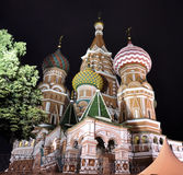 Moscow Saint Basil's Cathedral by night Stock Image