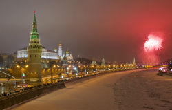 Moscow, salute near Kremlin in new years night Stock Photos