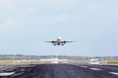 Airbus of Aeroflot take-off runway in airport Royalty Free Stock Photos