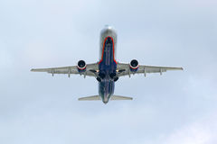 Airbus A320 flies Stock Photo