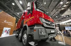MOSCOW, SEP, 5, 2017: Close up view on Mercedes-Benz Arocs 4142K dump truck exhibit on Commercial Transport Exhibition ComTrans-20 royalty free stock photos