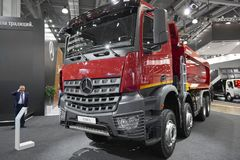 MOSCOW, SEP, 5, 2017: Close up view on Mercedes-Benz Arocs 4142K dump truck exhibit on Commercial Transport Exhibition ComTrans-20 royalty free stock photography