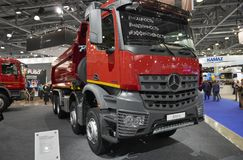 MOSCOW, SEP, 5, 2017: Close up view on Mercedes-Benz Arocs 4142K dump truck exhibit on Commercial Transport Exhibition ComTrans-20 royalty free stock photo