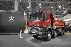 MOSCOW, SEP, 5, 2017: Close up view on Mercedes-Benz Arocs 4142K dump truck exhibit on Commercial Transport Exhibition ComTrans-20 stock images