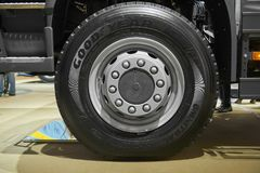 MOSCOW, SEP, 5, 2017: Close up view on Volvo truck front axle wheels and tires. Truck wheel rim. Truck chassis exhibit on Commerci. Al Transport Exhibition stock images