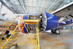 Dismantled turbine of repairing Aeroflot aircraft Royalty Free Stock Image