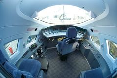 MOSCOW, SEP,18, 2011, Exhibition EXPO1520: Modern new generation high speed passenger train cabin interior driver desk equipment Royalty Free Stock Photo
