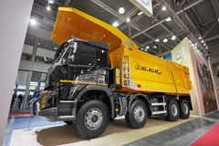 MOSCOW, SEP, 5, 2017: New Volvo 460 tipper truck on exhibition Mining World 2018. Volvo commercial trucks for different industrie stock photo