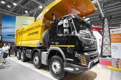 MOSCOW, SEP, 5, 2017: New Volvo 460 tipper truck on exhibition Mining World 2018. Volvo commercial trucks for different industrie stock images