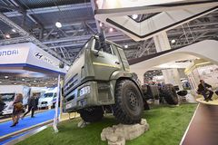 MOSCOW, SEP, 5, 2017: Powerful green Kamaz heavy mud truck exhibit on Commercial Transport Exhibition ComTrans-2017. Russian speci. Al off road mud trucks. Best Royalty Free Stock Photos