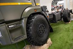 MOSCOW, SEP, 5, 2017: View on Kamaz mud race off-road truck exhibit on Commercial Transport Exhibition ComTrans-2017. Special dese. MOSCOW, SEP, 5, 2017 Stock Photos