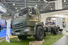 MOSCOW, SEP, 5, 2017: View on Kamaz mud race off-road truck exhibit on Commercial Transport Exhibition ComTrans-2017. Special dese. MOSCOW, SEP, 5, 2017 Stock Image