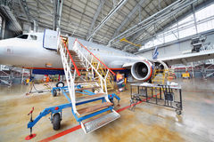 Repairing Airbus Aeroflot in hangar Royalty Free Stock Photo