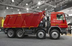 MOSCOW, SEP, 5, 2017: Side view on Mercedes-Benz Arocs 4142K dump truck exhibit on Commercial Transport Exhibition ComTrans-2017. stock images