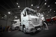 MOSCOW, SEP, 5, 2017: Silver trucks Mercedes-Benz Actros exhibits on Commercial Transport Exhibition ComTrans-2017. Commercial Mer. Cedes trucks. Automobile Stock Photo