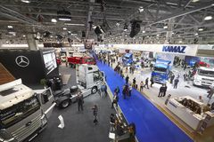 MOSCOW, SEP, 5, 2017: View on cars trucks exhibits on Commercial Transport Exhibition ComTrans-2017. Automobile industry new conce royalty free stock images
