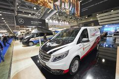 MOSCOW, SEP, 5, 2017: View on customised for sports minivan mini bus Mercedes Benz Vito Tourer exhibit on Commercial Transport Exh. Ibition ComTrans-2017 Royalty Free Stock Image