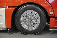MOSCOW, SEP, 5, 2017: View on MAN truck front wheels and tires. Truck wheel rim. Truck chassis exhibit on Commercial Transport Exh. Ibition ComTrans-2017. Clean Stock Photography