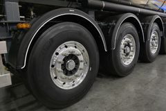 MOSCOW, SEP, 5, 2017: View on Volvo truck rear axle wheels and tires. Truck wheel rim. Truck chassis exhibit on Commercial Transpo Royalty Free Stock Photography
